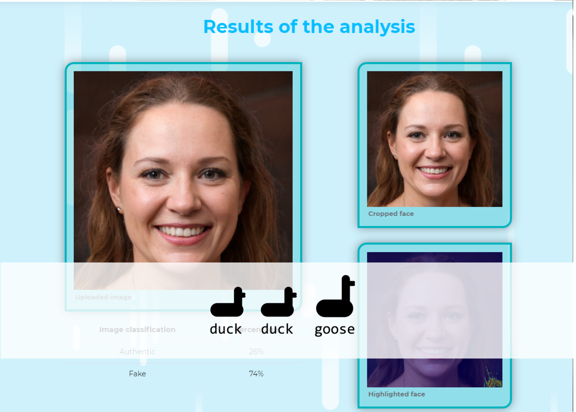 Get to know whether your video or photo is a deep fake, powered by UbiOps and DuckDuckGoose.